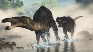 Anatotitan and Tyrannosaurus