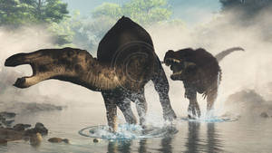 Anatotitan and Tyrannosaurus by PaleoGuy
