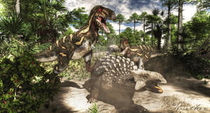 Ankylosaurus and Juvenile Tyrannosaurs