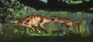 Edmontosaurus, Tyrannosaurus by PaleoGuy