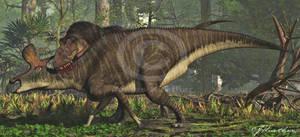 Daspletosaurus and Lambeosaurus by PaleoGuy