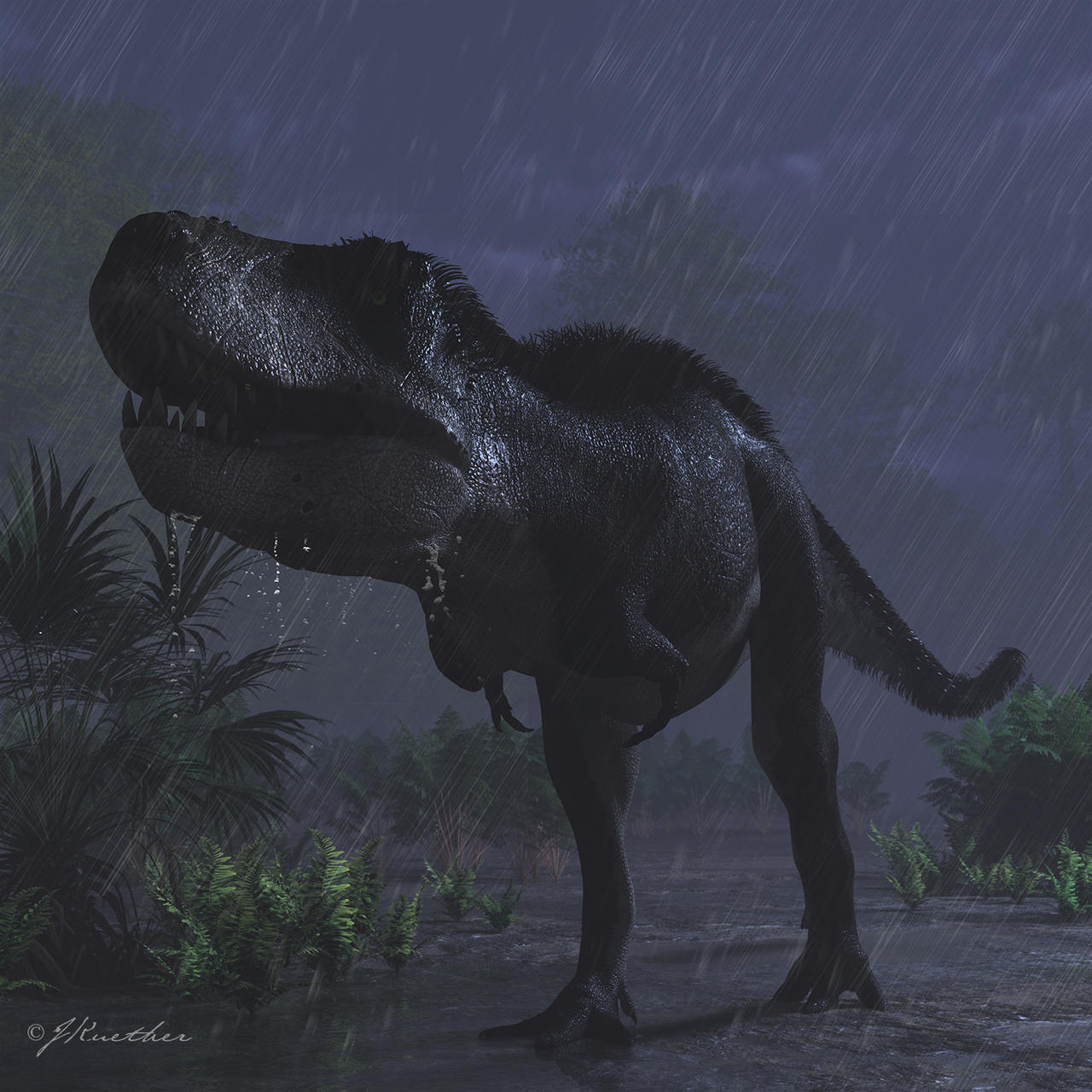 Tyrannosaurus In The Rain By PaleoGuy On DeviantArt