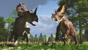 Centrosaurus and Chasmosaurus by PaleoGuy