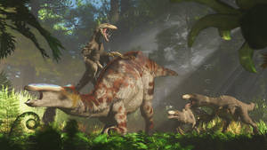 Edmontosaurus annectens and Dakotaraptor