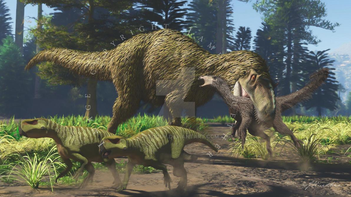 Yutyrannus, Beipiaosaurus, Psittacosaurus by PaleoGuy