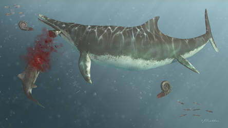 Temnodontosaurus and unnamed Dorset Ichthyosaur by PaleoGuy