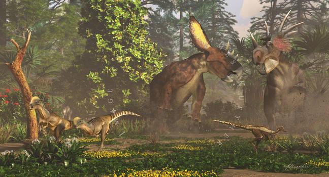 Chasmosaurus and Styracosaurus by PaleoGuy