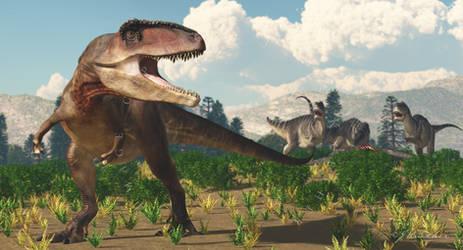 Giganotosaurus and Ekrixinatosaurus by PaleoGuy