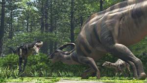 Parasaurolophus, Gorgosaurus