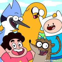 Adventure Time! Steven Universe! Regular Show! by KristianGraff