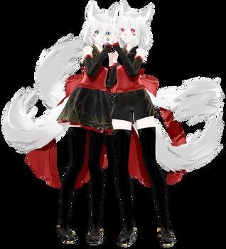 [MMD] Kitsune Twins by traineeCross