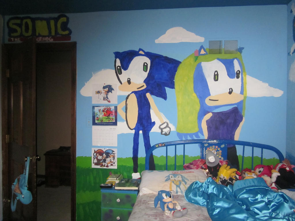 Sonic The Hedgehog  Wall 2 Of My Bedroom Mural  by UnsunkenHedgehog101. Sonic The Hedgehog  Wall 2 Of My Bedroom Mural  by