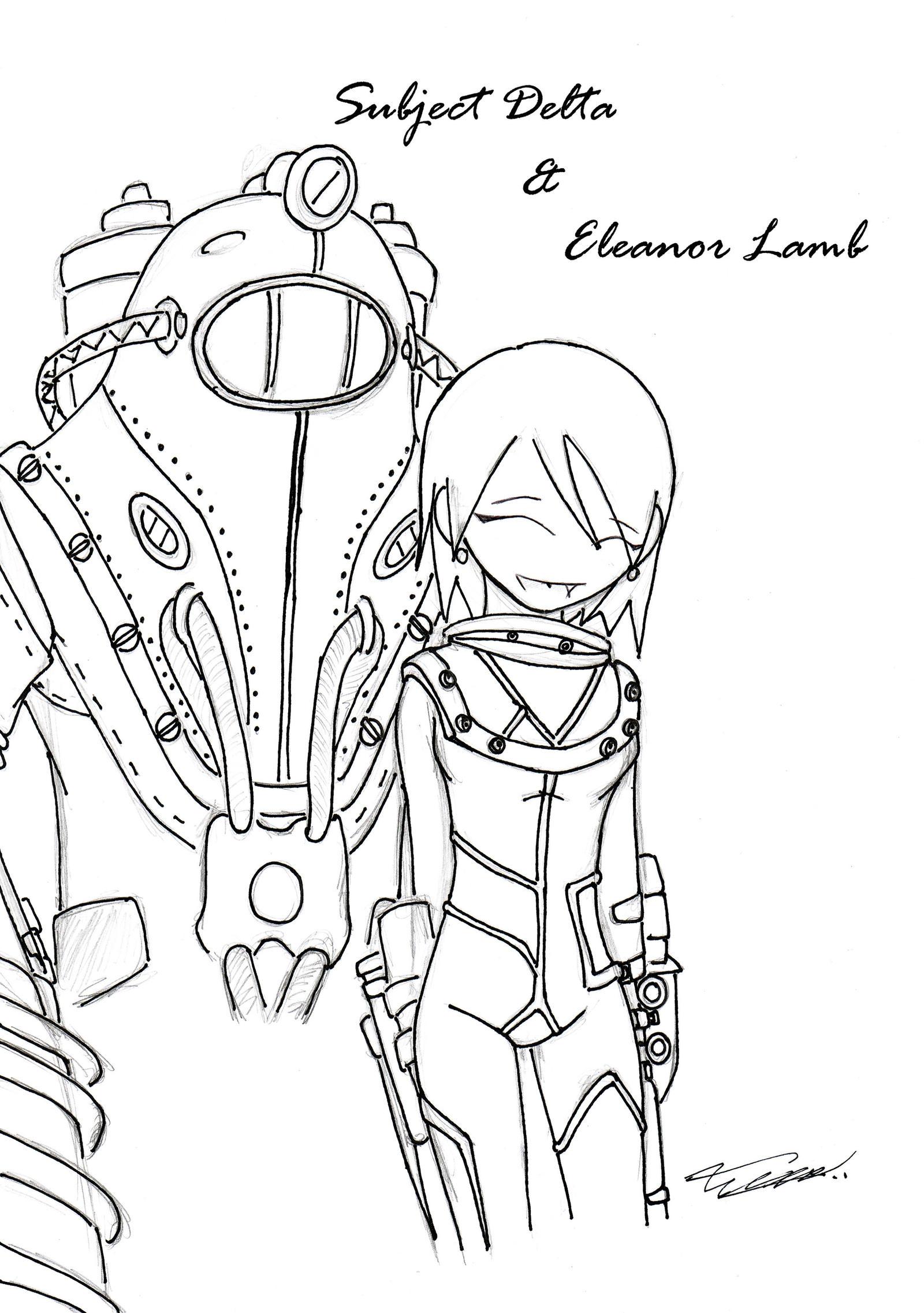 Subject Delta and Eleanor Lamb by DarkR08Bioshock 2 Eleanor And Delta