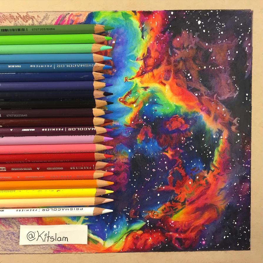 Drawing Heart Nebula   Pencil Crayon Art by kitslam