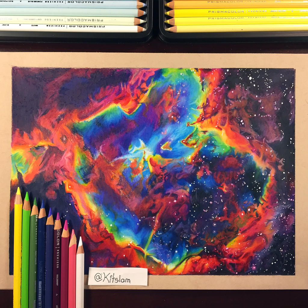 color crayon art : Kitslam 4 0 Drawing Heart Nebula Pencil Crayon Art By Kitslam