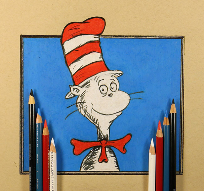 Drawing the Cat in The Hat   Two Hand Drawing by kitslam