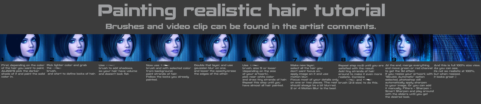 Painting realistic hair tutorial by MagicnaAnavi