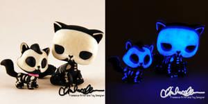 Glow in the dark Skelly Kitties custom LPS