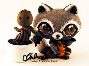 Rocket and Groot custom LPS toys
