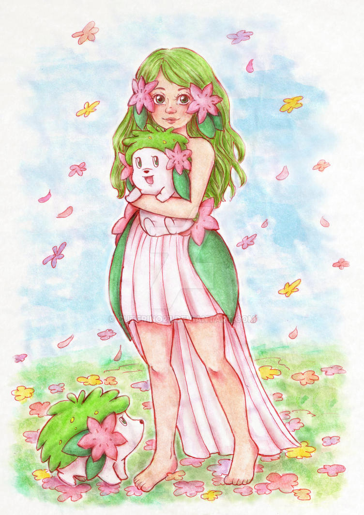 Flower Paradise (Shaymin Gijinka) by cuterino27 on DeviantArt