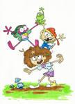 Two frogs and girls! (fan art)