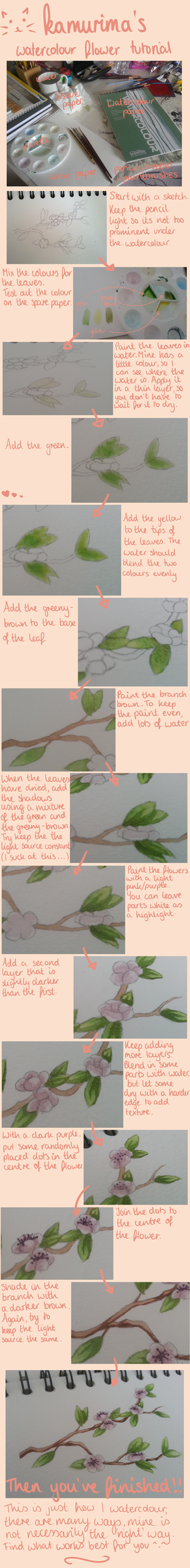 Watercolour Flower Tutorial by kamurima