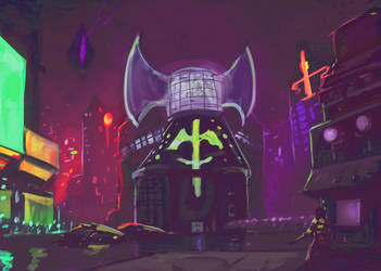 Cyberpunk Enviro concept by ZombieCentipede