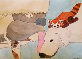 The Gang's All Here!: Appa, Momo, Naga, and Pabu by lemon-stockings