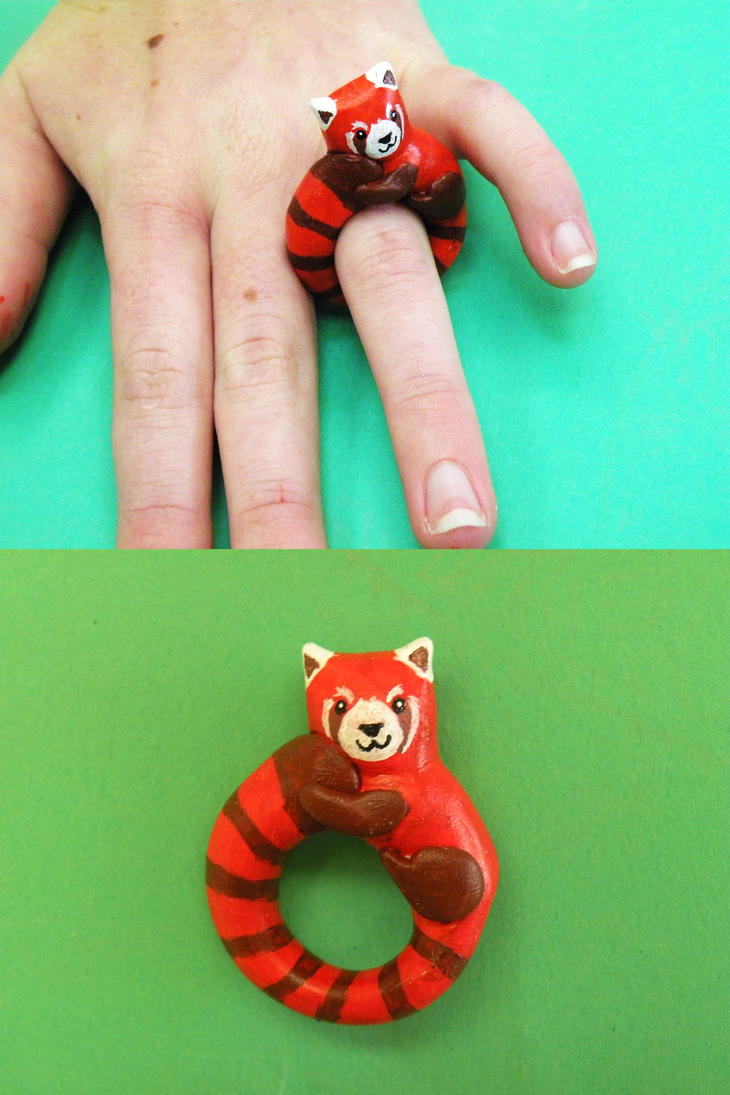 Red Panda Ring (or maybe Pabu) by lemon-stockings