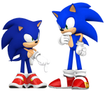 Dreamcast Sonic and Modern Sonic