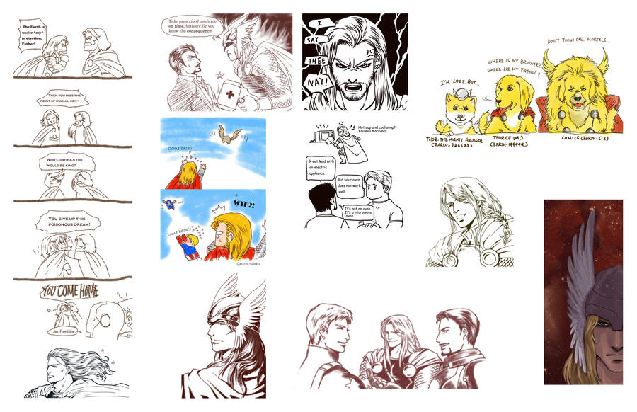 Thor and Avengers sketch dump by mmmmmr