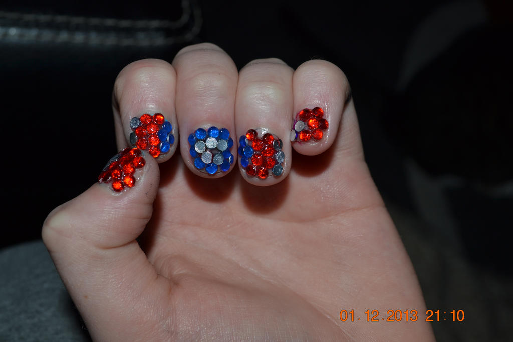 Captain America jewel nail art 1 by LittleFlower23 on DeviantArt