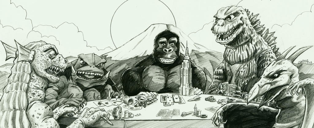 Kaiju playing poker by VectorAttila