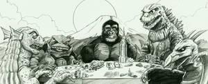 Kaiju playing poker