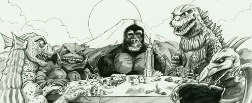 Kaiju playing poker by VectorAttila