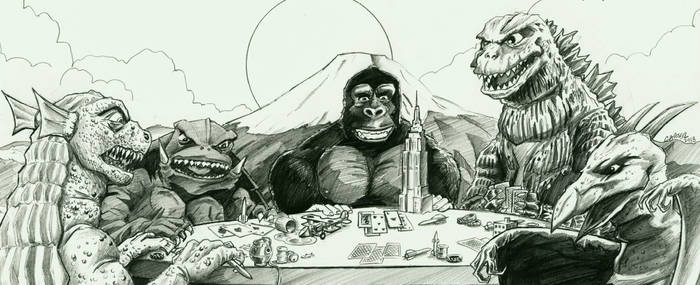 Kaiju playing poker