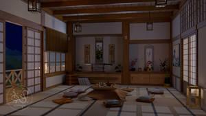 Japanese Family Room Night