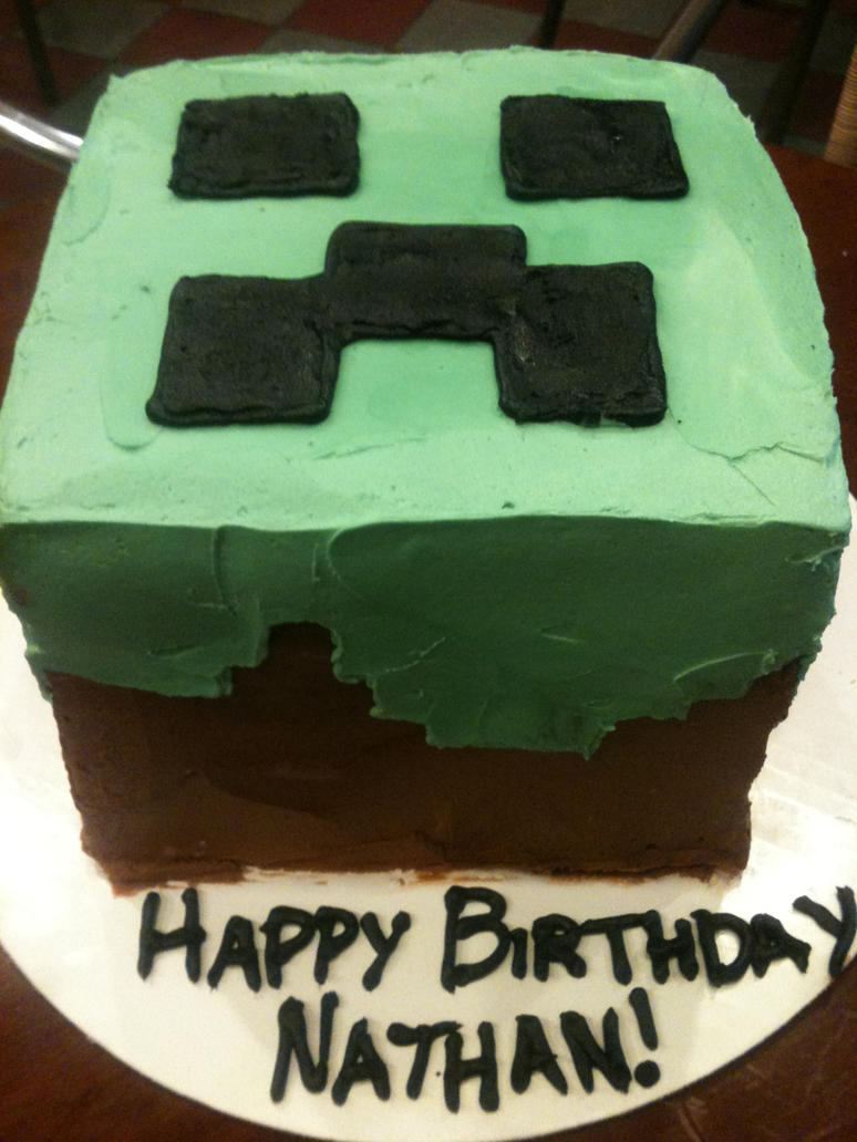 Minecraft Birthday Cake Slice