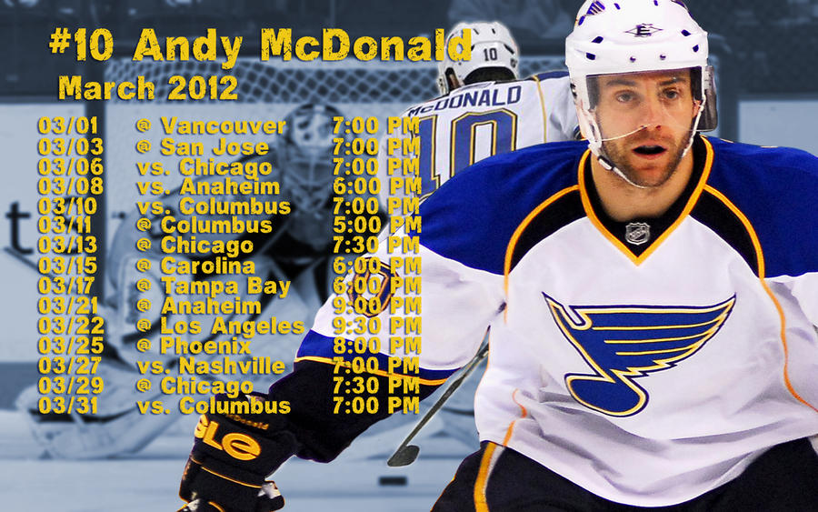 March 2012 St. Louis Blues Schedule Wallpaper by RealBadRobot