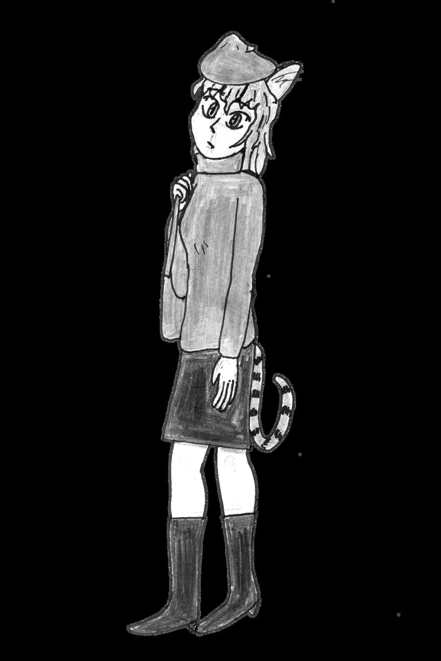 Beret Cat Girl by takeshita-kenji