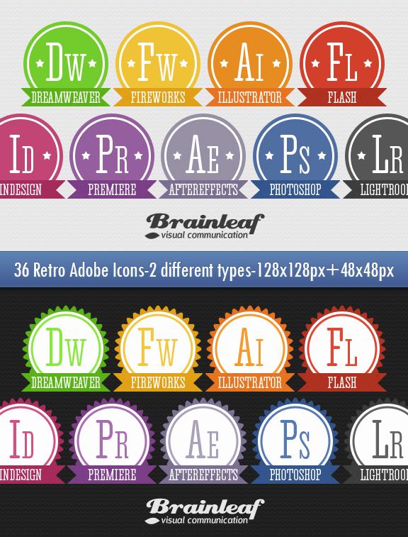 Retro Adobe Icons Set