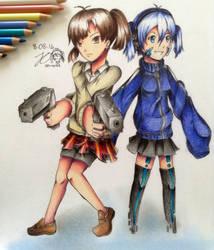 Takane and Ene (Mekakucity Actors) by JO-arts