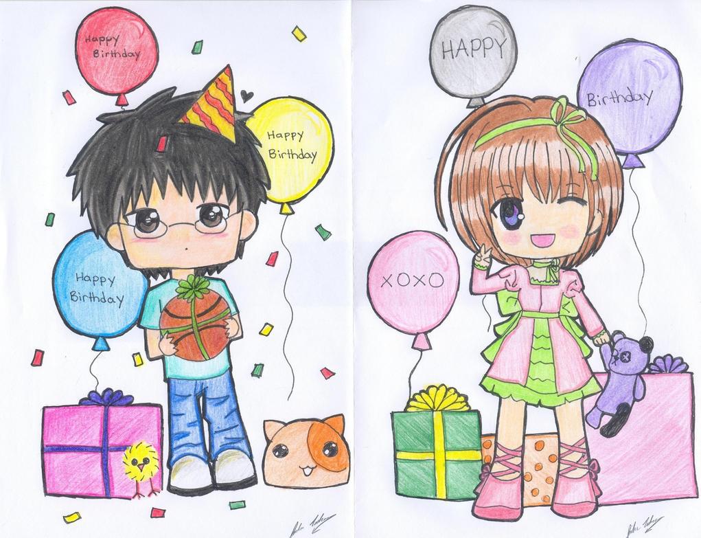 Chibi Birthday Cards By Sacredmoonlight