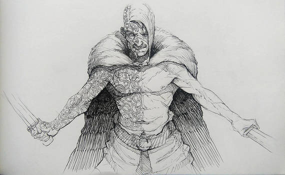 Inktober#2 Divided - Viking Berserk
