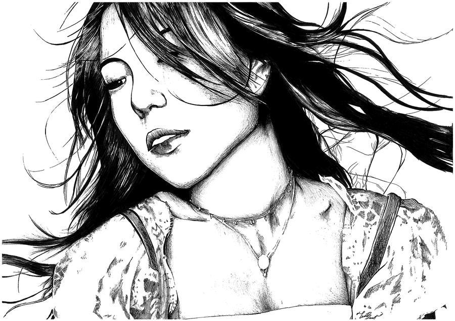 Line Art People : Boa line portrait by e moshun on deviantart