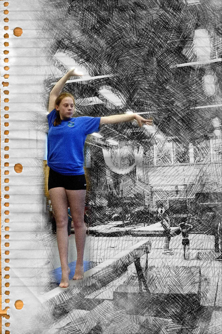 Gymnast girl on beam with 3d popup effect by Cowboyz123