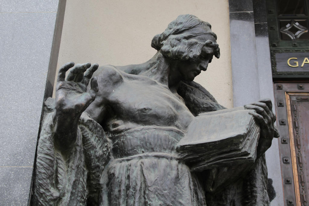 Detail of statue of man by DelphineHaniel