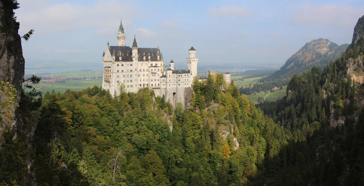 Panoramic photography with castle Neuschwanstein by DelphineHaniel
