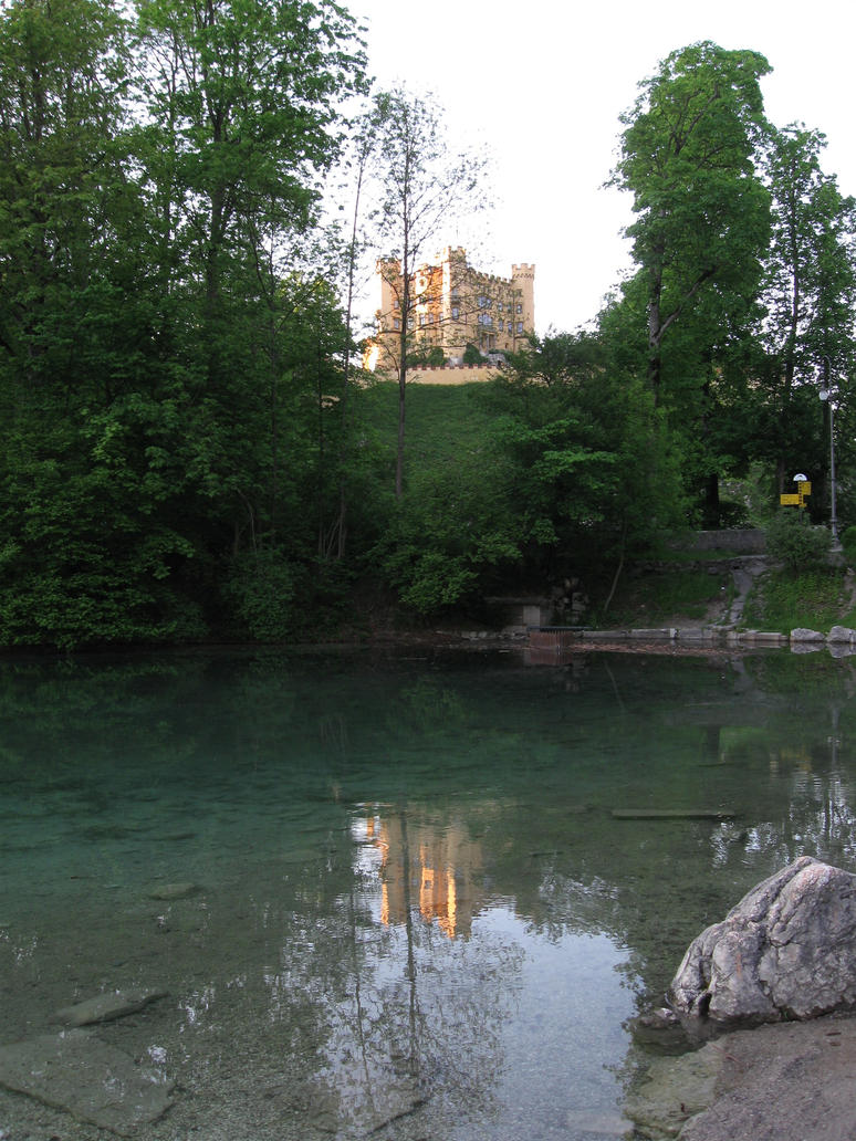 castle Hohenschwangau and lake Alpsee by DelphineHaniel