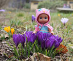 Little fairy and her crocuses by DelphineHaniel